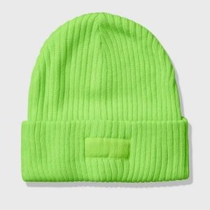 Victorias Secret PINK ribbed Beanie Lime Green